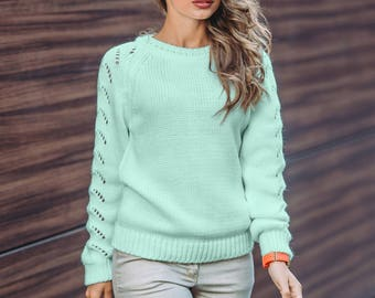 More colors! Mint womens knitted sweater long sleeve Sweater openwork Wool sweater Oversized sweater Autumn Sweater Woman Office sweater