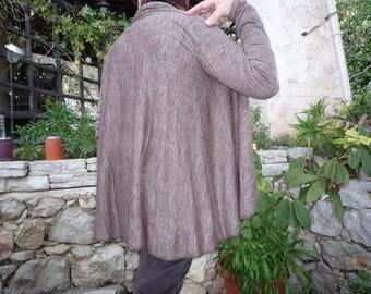 Brown thin jersey knit jacket