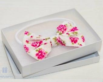 Roses Headbands, Baby ,Headband, Pink White Headband, Baby Shower Gift, Baby Girl Gift, Modern Headband Set, Newborn Gift, Headbows for Girl