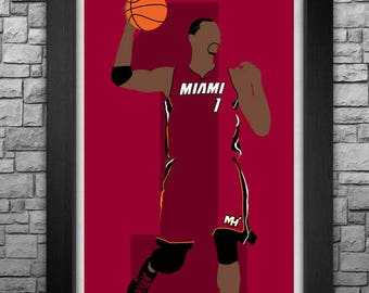 CHRIS BOSH minimalism style limited edition art print. Choose from 3 sizes!