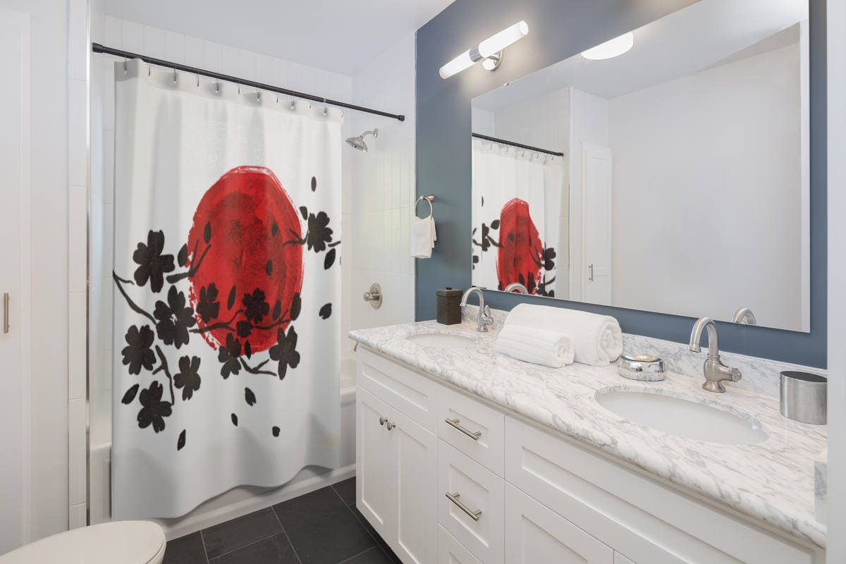 Japanese shower curtain. Red and black bathroom curtain. Cherry ...