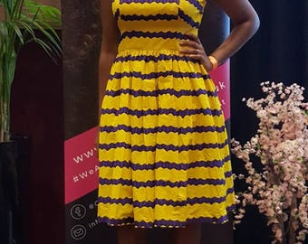 African Print Dress/ Ankara dress/ Yellow