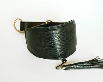 Greyhound collar, Whippet collar, lizard printed leather collar, hand-crafted collar, dog collar, made in Italy
