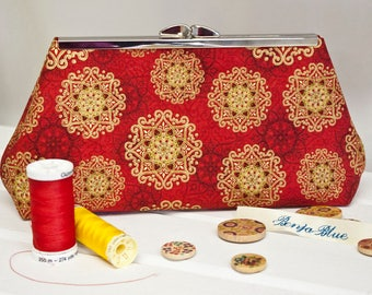 Clutch Bag - Purse - Hand Bag - Evening Bag - Toiletry Bag - Handmade bag featuring gorgeous red snowflake fabric with metallic accents