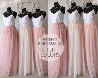 Bridesmaids Dress Tulle Skirt Long  Floor Length Women's Tulle Skirt Bridal  Women Tulle Skirt Wedding Long Blush Pink Ivory Tulle Dress