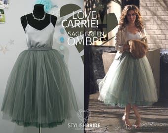 Carrie Bradshaw Ombré Tulle Skirt Leaf Green 7 Layers Super Puff, 100% exclusive handmade cut layers, Tulle Skirt Woman, Tulle Skirt Bridal