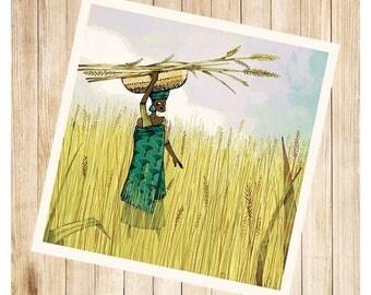 """Kareba et son bébé"", carte postale carrée."