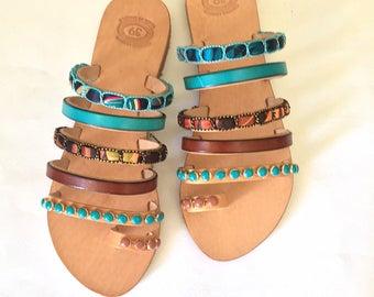 "Leather Strappy Sandals ""Cuba Libre"", Greek Sandals, Boho Sandals"