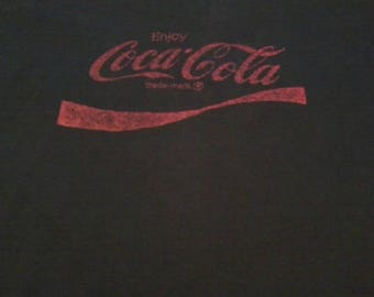 2-sided USA made Black Vintage 90s Tee W/Coca-Cola Logo on back, basketball camp on front