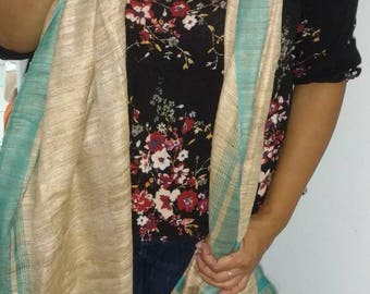 Cream and turquoise scarf//scarf//stole//shawl//cream and turquoise shawl//Indian scarf//indian shawl//turquoise shawl//turquoise scarf//