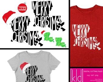 4 Louisiana Christmas SVG Files- Louisiana svg - Merry Christmas svg - Santa Hat svg - State of Louisiana Christmas