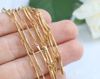 Bar Chain, Gold Plated Chain, 24K Gold Plated Bar Chain, Shiny Gold Chain, Soldered Chain, Textured Chain, 12x1mm, 1/10 Meters, SKU/CH12