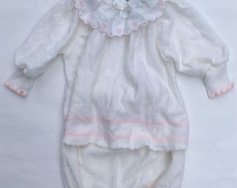 SALE Vintage Baby Girls' Outfit Top and Shorts Set Two Piece Pink & Creamy White Outfit, Size 12-18 Months