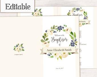 Baptism Program, Editable PDF LDS Printable Digital, Songs Handout Girl Baptism cream white Flowers, Program Template
