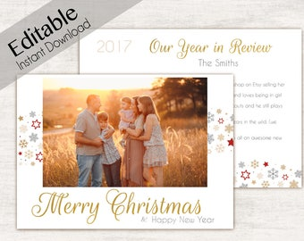 Year in review Christmas card template, Editable PDF, Year in review template, Editable Christmas Card, Year In Review, Holiday Card