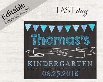Last Day of School Chalkboard Print, Editable Text, DIY, Art Print, Chalkboard Sign, Kindergarten, Grade School, INSTANT DOWNLOAD