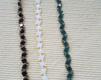 Tile Beads and Crystal Bracelets