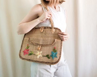 Vintage Straw Market Bag with Embroidered Flowers