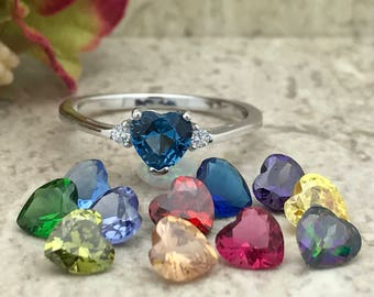 Heart CZ Ring, Sterling Silver Heart Cubic Zirconia Engagement Ring, Custom Birthstone Heart Ring, Bridal Ring, Promise Ring
