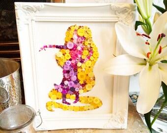 Handmade Rapunzel Inspired Embellishment Canvas