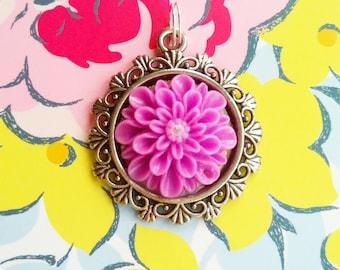 Handmade Purple Flower Pendant