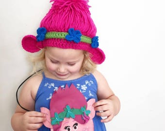 Poppy troll Inspired hat . Trolls inspired hat . Troll hat . Poppy troll Costume . Dress-up hat . Dress-up wig . Princess Poppy Inspired Wig