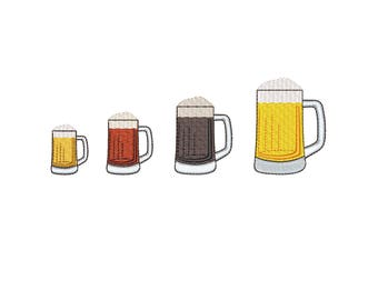 Mini Beer mug machine embroidery design. Beer Glass Mini Embroidery. St. Patrick's Day mini embroidery design. 4 sizes (4x4 hoop)
