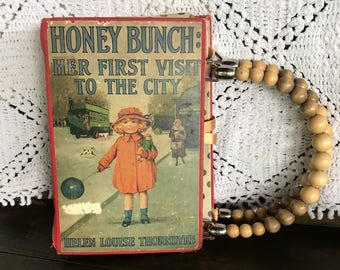 Vintage Purse Book Hand bag clutch wood beads Mid Century