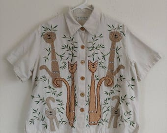 Vintage Linen Bamboo Cat Top