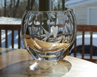 Orrefors Hand Blown Etched Crystal Hummingbird Vase