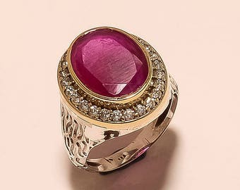 Red Ruby Fine Ring Ruby , Zircon Faceted Ring Sterling Silver Ring Ruby Gemstone Ring Two Tone Ruby Silver Ring  Red Ruby Ring Size10.4 E754