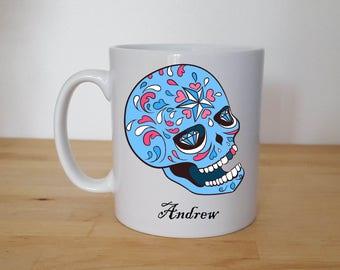 Personalised Sugar Skull, Candy Skull, Day of the Dead, Skull 10oz Mug.