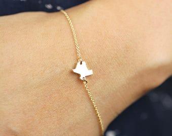 Texas Bracelet, 14K Gold Texas Charm Gold Bracelet, 14K Solid Gold Texas Pendant Bracelet, Gold Bracelet, Personalize Pendant Bracelet