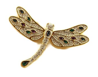 Vintage Signed S.A.L Dragonfly Superb Brooch Large Size 96 x 105mm Wide J0036 Pin Vintage Costume Jewelry