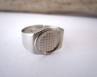 Platinum silver color ring for 10 mm cabochon