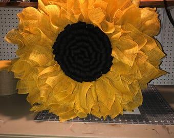 Yellow burlap sunflower wreath