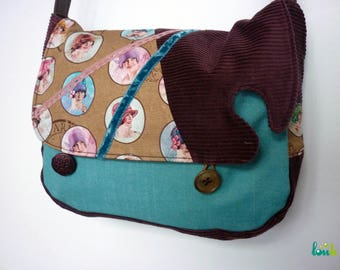 Turquoise and plum velvet and cotton bag