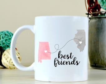 Long Distance Friendship - Best Friends Coffee Mug - State To State Mug - Cute Coffee Mug - Best Friend Gift - Gift For College Friends