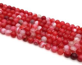 1Full Strand Agate Round Beads,8mm 10mm Dark Pink Agate Gemstone For Jewelry Making