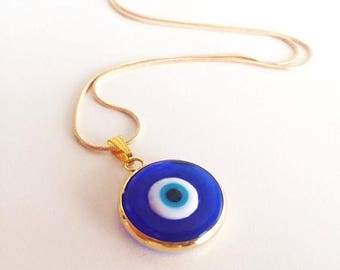 PROMO Dark blue evil eye necklace, choker necklace, tiny evil eye necklace, 22K gold plated necklace, symbol of protection, turkish nazar je