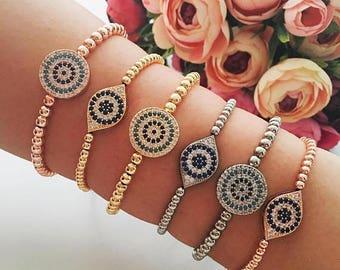 PROMO Evil eye bracelet, silver rose gold evil eye bracelet, beaded evil eye bracelet, nazar boncuk bracelet, evil eye jewelry, round oval b