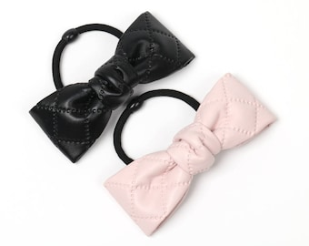 Artificial leather quilted hair elastic, hair accessory for women and girls