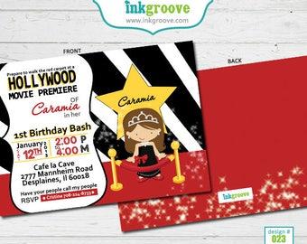 Movie Birthday Invitations for Girls - Red Carpet Birthday Party - Printed Invitations