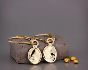 SALE! 14k Gold Nuggets Earrings set with Diamonds   Solid 14k gold earrings organic nuggent set with natural Diamonds   Lever back earrings