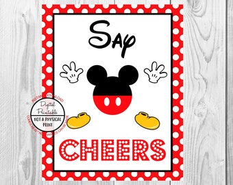 """Say Cheers Sign, Mickey Mouse Birthday Party Sign, 8""""x10"""" Printable, Instant Download"""