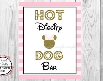 "Hot Diggity Dog Bar Sign, Minnie Mouse Birthday Party Sign, 8""x10"" Printable, Instant Download, Gold & Pink Sign"