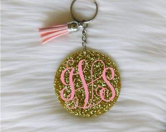 Monogram Keychain, Glitter Keychain, Tassel Keychain, Monogram Keychain, Keychain, Name Keychain, Cute Keychain, Keychain for Women