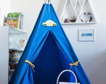 Royal blue vigvam + yellow car application: vigvam, tipi, teepee, wigwam, play tent
