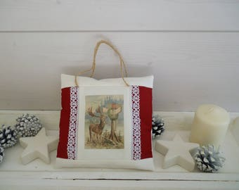 Decorative Christmas pillow Christmas fabric red and white transfer decoration deer - door pillow - Christmas ornament
