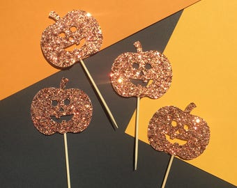 Pumpkin Cupcake Toppers | Halloween Cupcake Toppers | Glitter Jack O'Lantern Cupcake Toppers | Party Cupcake Toppers